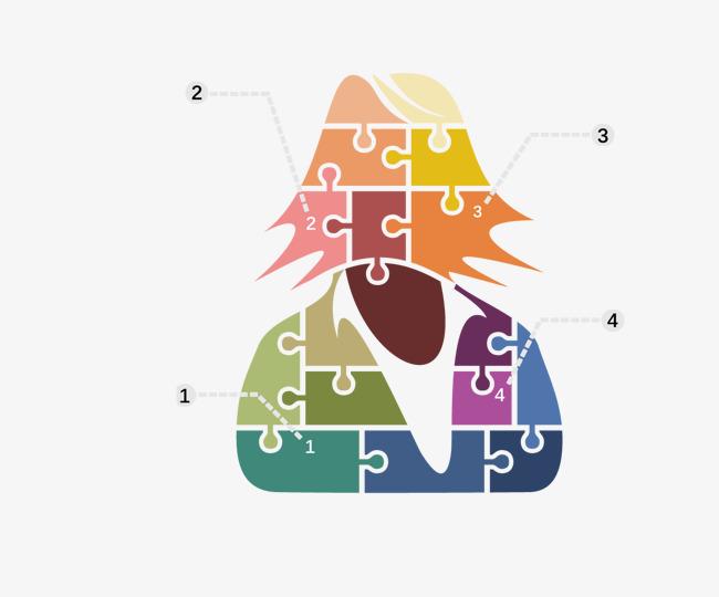 矢量拼图人物png素材-90设计图片