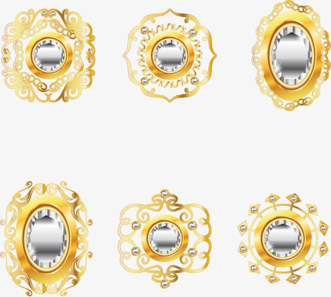 矢量手绘黄金珠宝