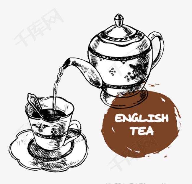 手绘茶壶茶壶茶杯矢量插画-手绘茶壶素材图片免费下载 高清psd 千库