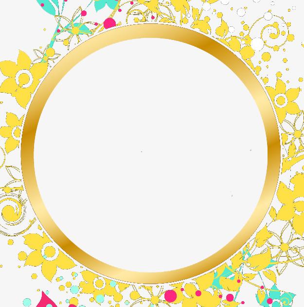 金黄色ppt圆形花边边框