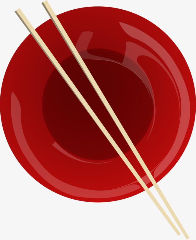 矢量手绘红色盘子和一双筷子