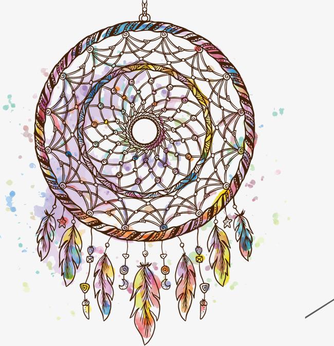 矢量手绘捕梦网插画png素材-90设计