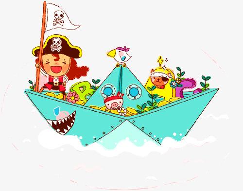 卡通背景_卡通海盗船png素材-90设计图片