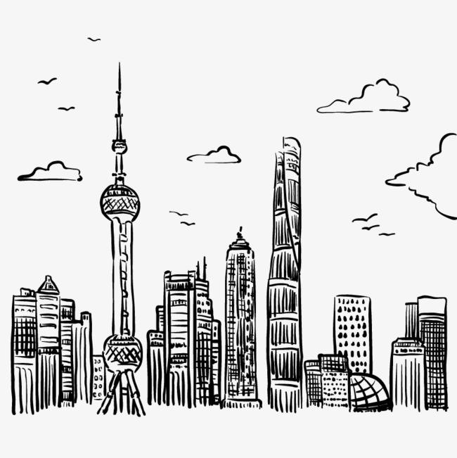 手绘线条城市矢量