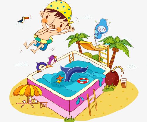 手绘卡通游泳池图片