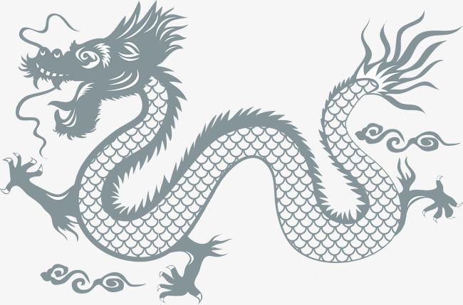 中国龙矢量蓝色