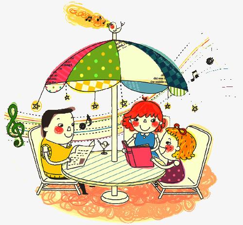 手绘一家人看书