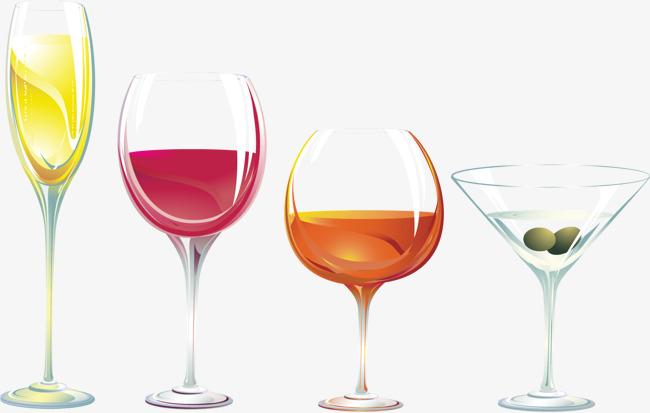 矢量手绘玻璃酒杯