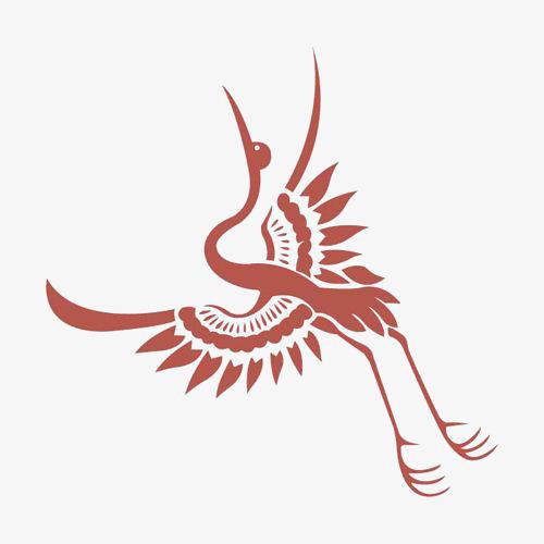 飞翔的仙鹤 丹顶鹤 仙鹤剪纸 红色             此素材是90设计网