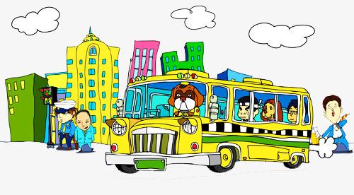 手绘卡通公交车图片