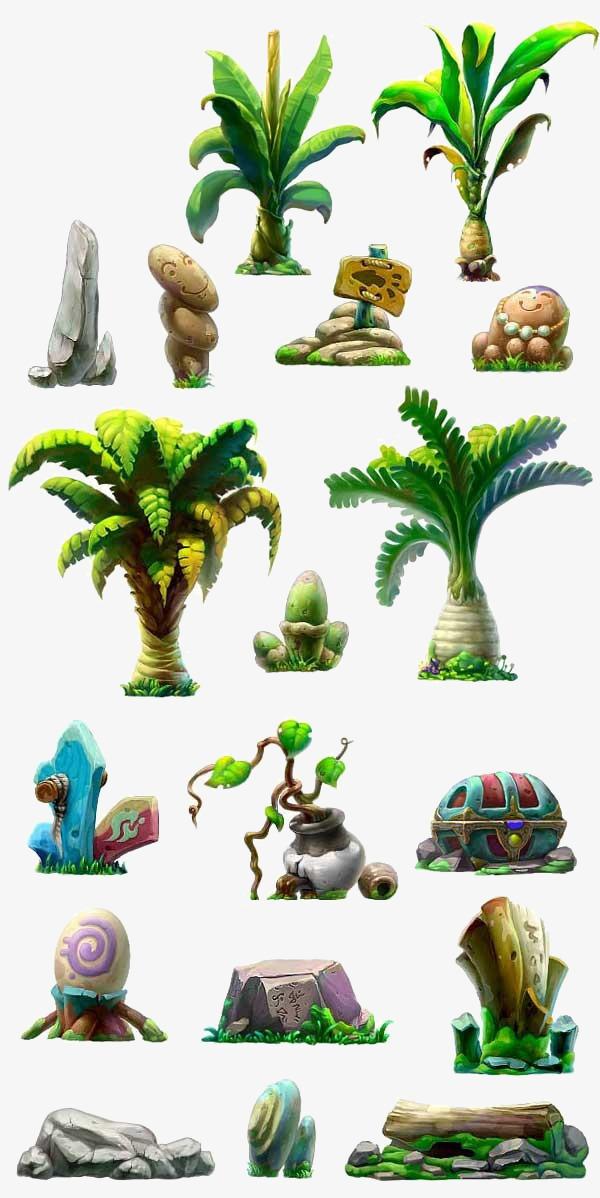 图片 > 【png】 卡通手绘植物石头  分类:手绘动漫 类目:其他 格式