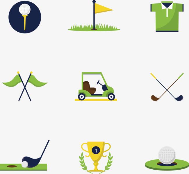 矢量手绘9个高尔夫球图标