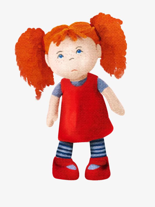 红色可爱小女孩布偶
