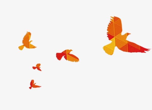 彩色飞翔拼接小鸟