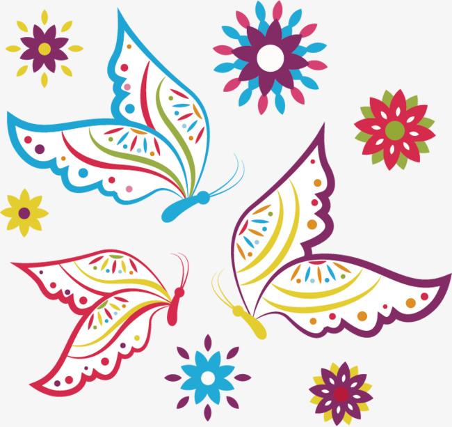矢量手绘花纹蝴蝶图案