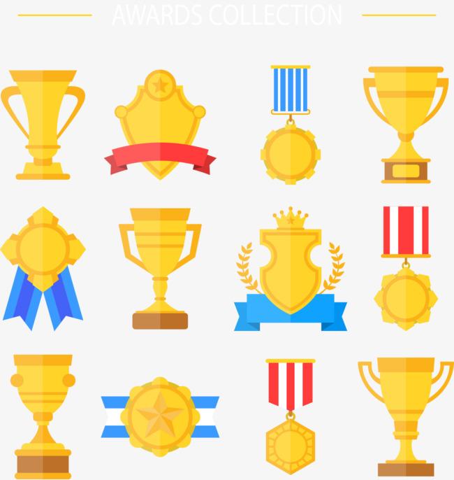 矢量手绘卡通奖杯和奖牌素材图片免费下载 高清装饰图案psd 千库网 图片编号5217451