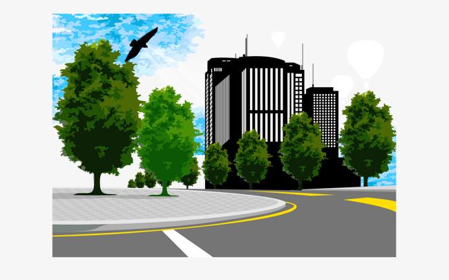 矢量手绘现代城市