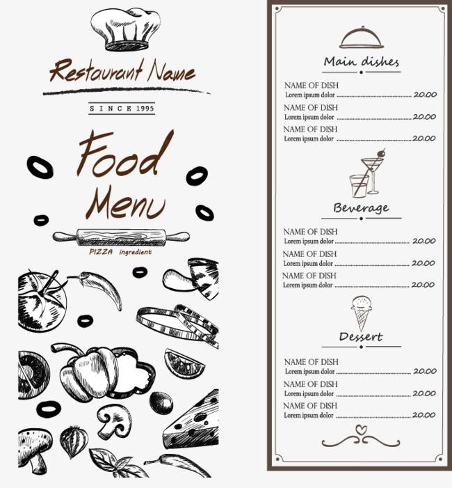 手绘菜单菜单封面 菜单菜品 矢量             此素材是90设计网官方