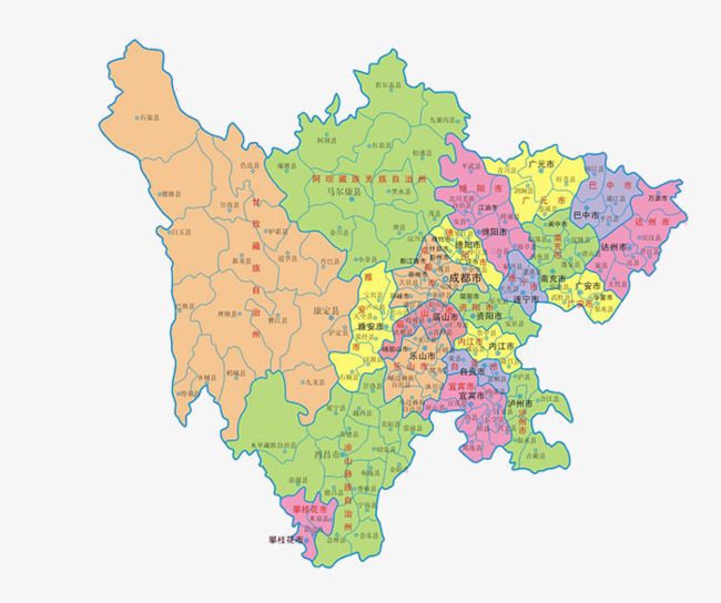 详细四川地图素材图片免费下载 高清装饰图案png 千库网 图片编号5211055