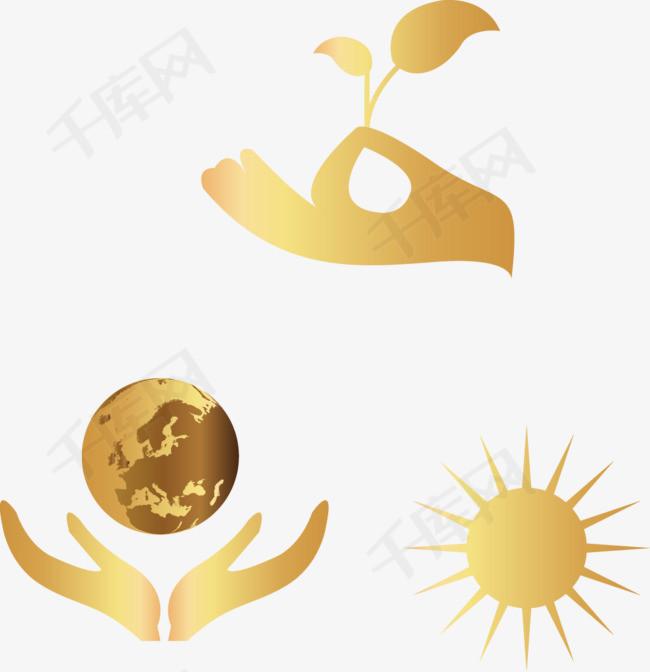 矢量手绘金色环保图案素材图片免费下载 高清装饰图案psd 千库网 图片编号5217361