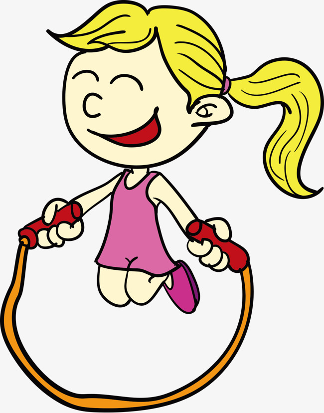 设计_  跳绳的卡通可爱女孩素材图片免费下载_高清装饰图案psd_千库网