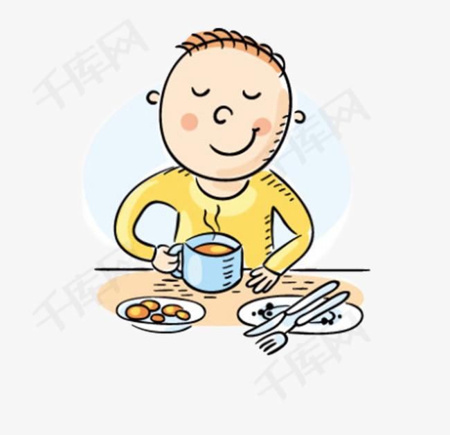 吃早餐手绘小男孩吃早餐男孩刀叉