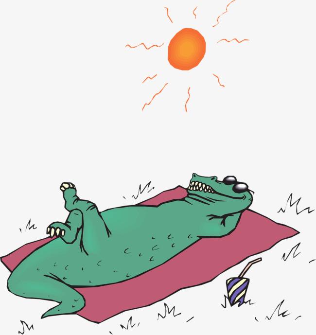 卡通手绘鳄鱼花版