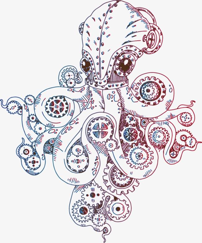 矢量手绘章鱼机械齿轮