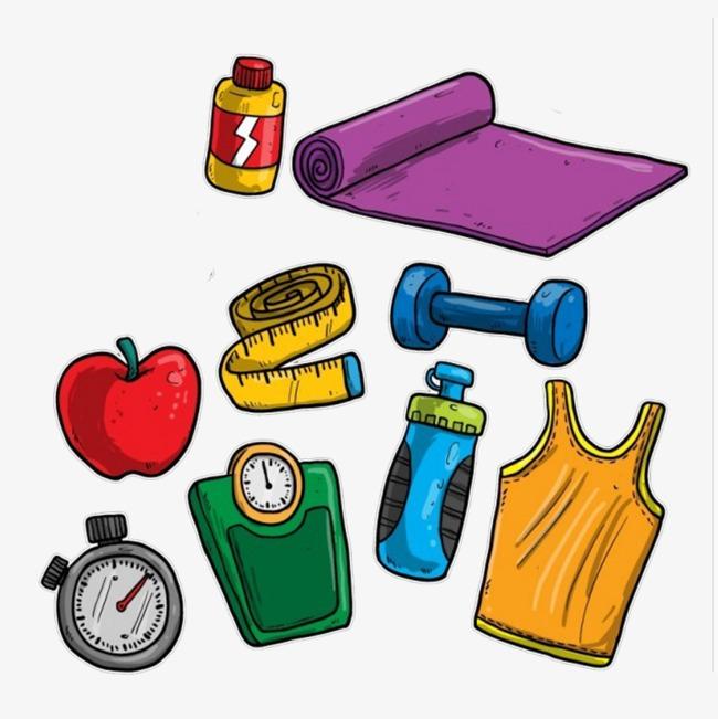 健身手绘卡通元素