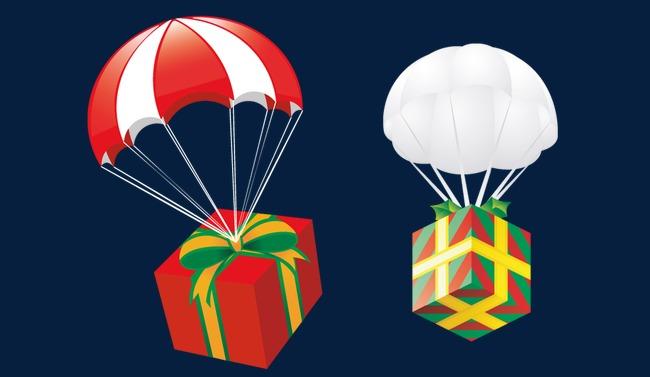 带着礼物的降落伞