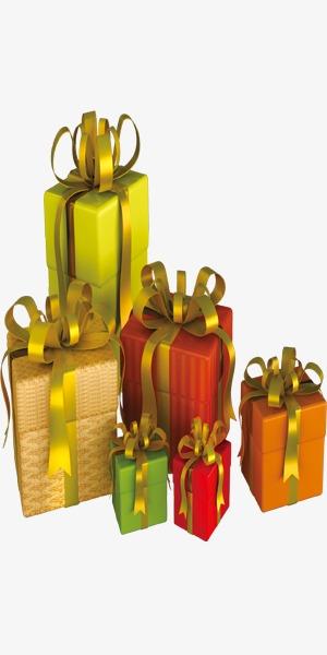 新年金色绸带花结礼物