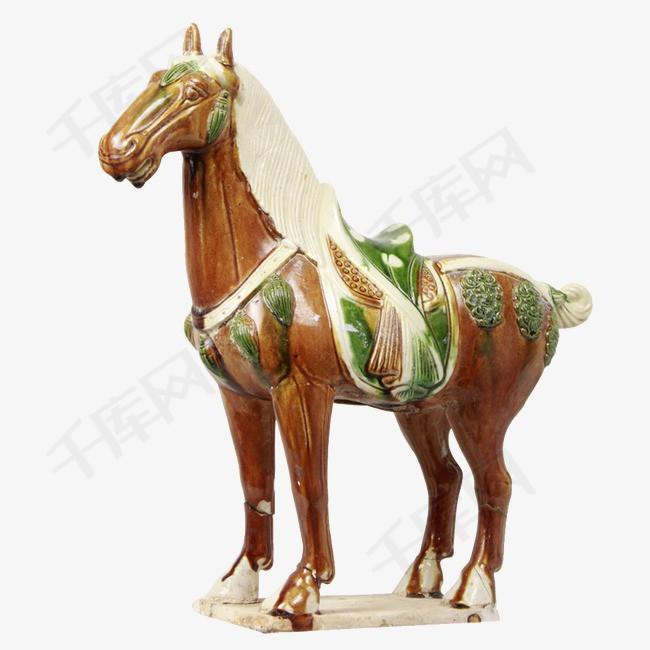 唐三彩马雕塑