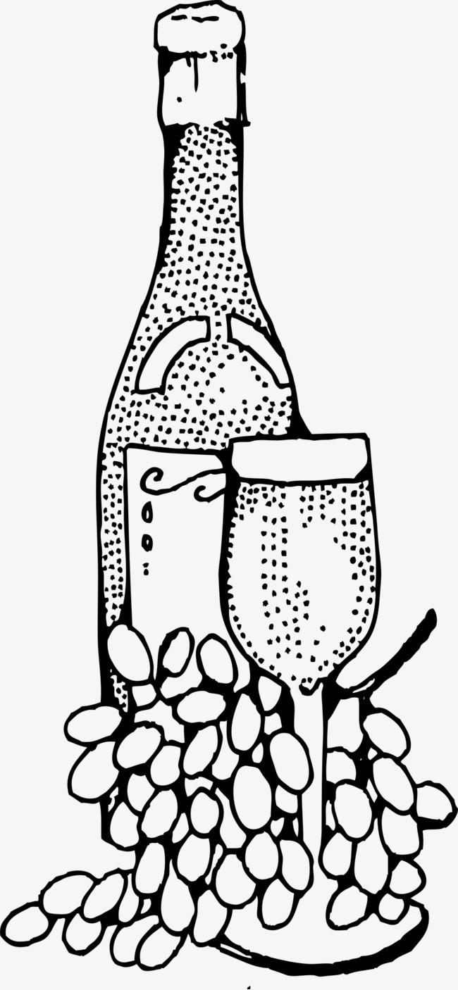 手绘点点酒瓶图片