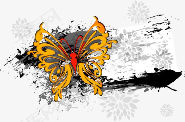 矢量蝴蝶墨迹