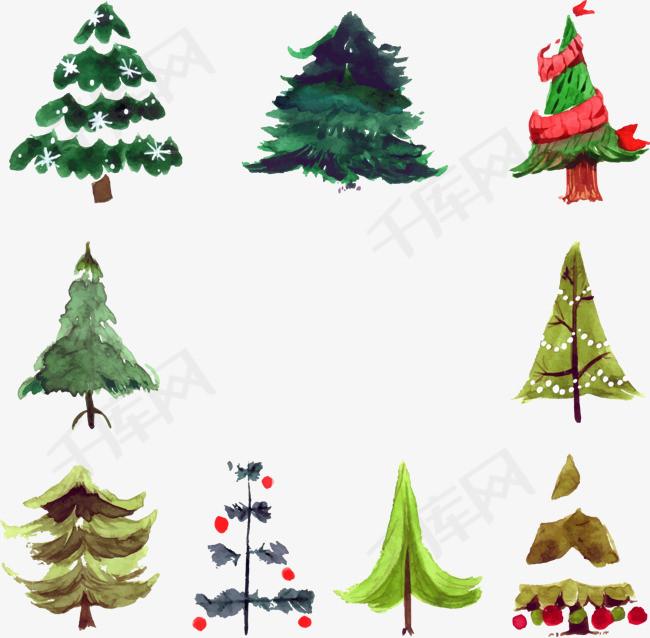 圣诞树卡通插画