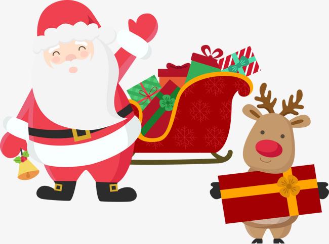 圣诞老人雪橇与麋鹿 圣诞节麋鹿拉鹿