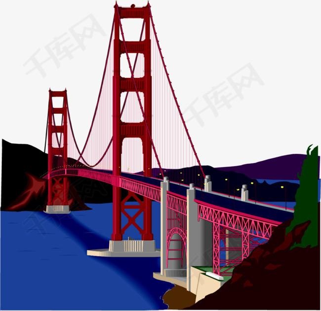 矢量手绘大桥