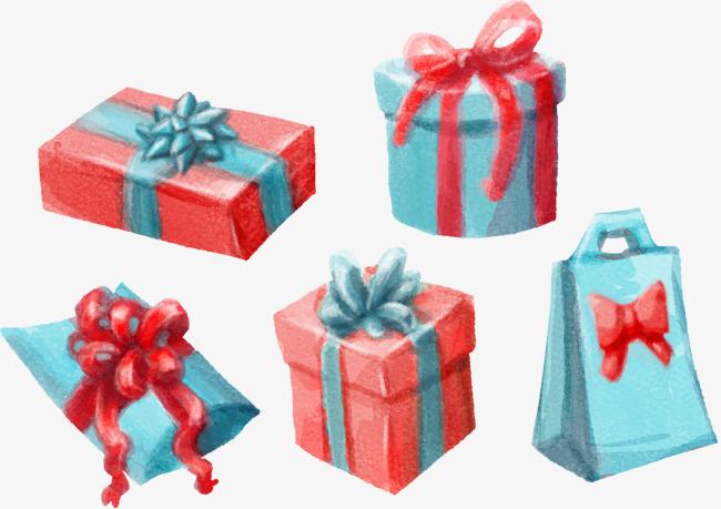 彩绘圣诞红色礼盒