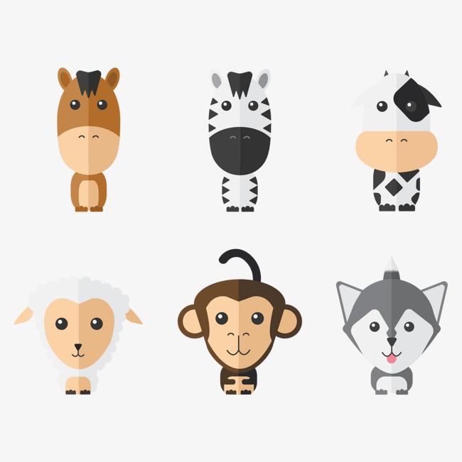 矢量图可爱的动物头像