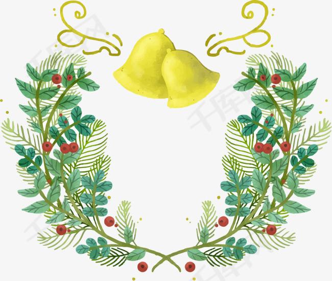 圣诞彩绘铃铛与花草