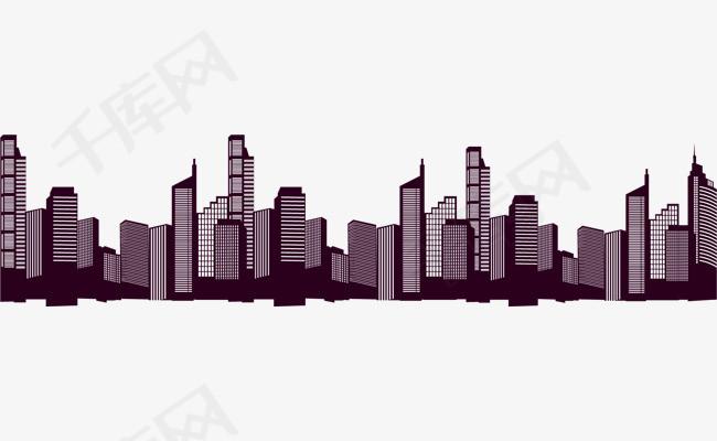 矢量手绘城市剪影
