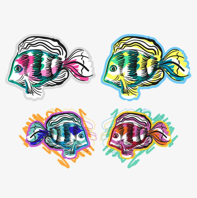 矢量图涂鸦海洋鱼图片