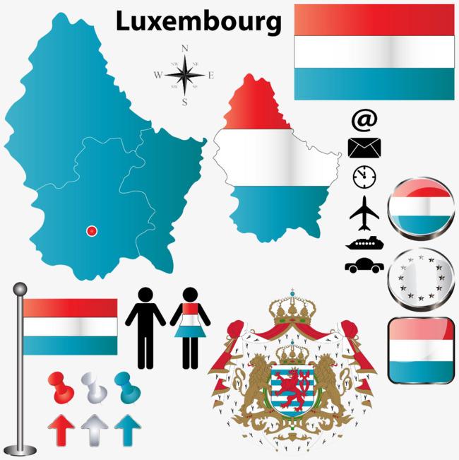 卢森堡国旗地图图片