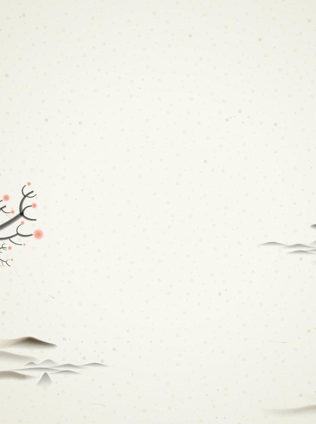 中国风清新淡雅水墨树枝山水雪景