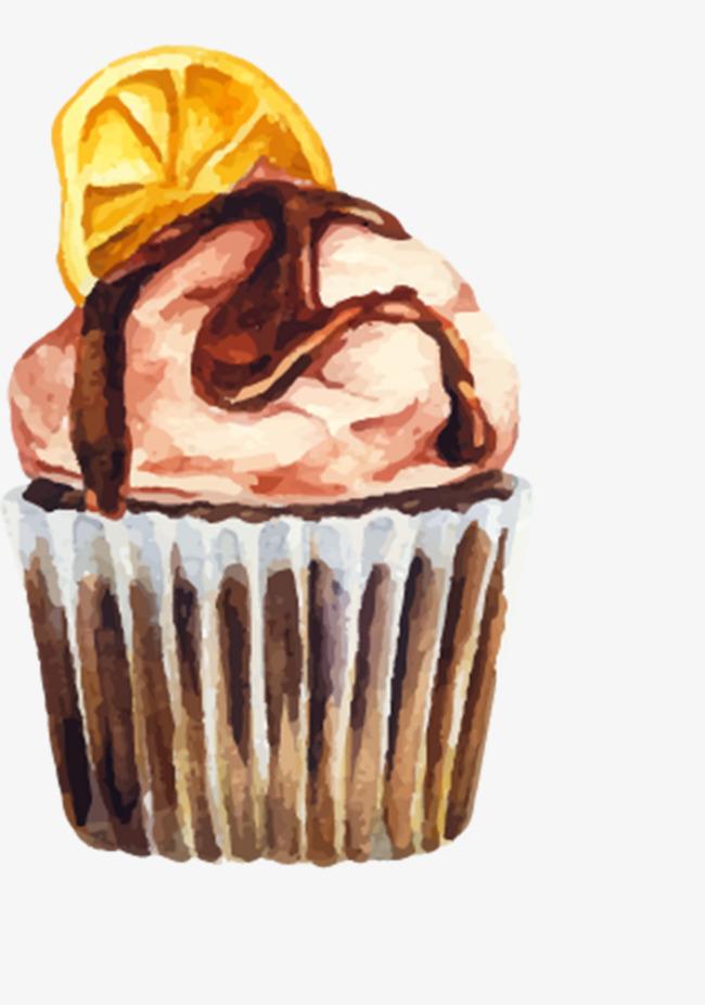 手绘柠檬冰淇淋png素材-90设计