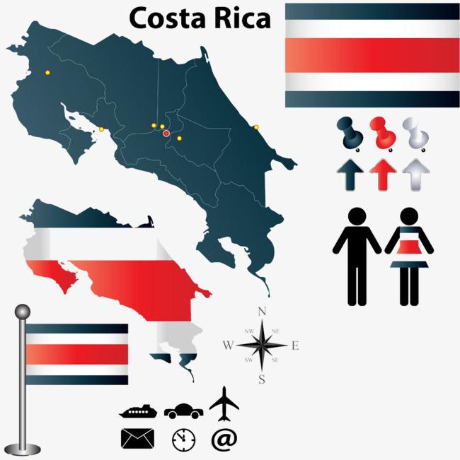 哥斯达黎加国旗地图图片