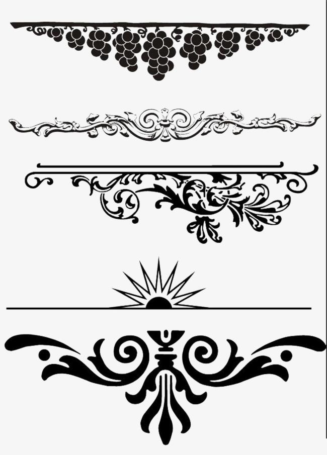 横条藤蔓花纹png素材-90设计