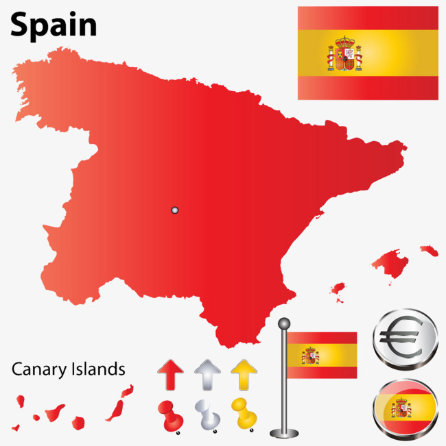 西班牙地图国旗图片