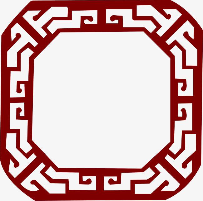 红色中国风复古边框