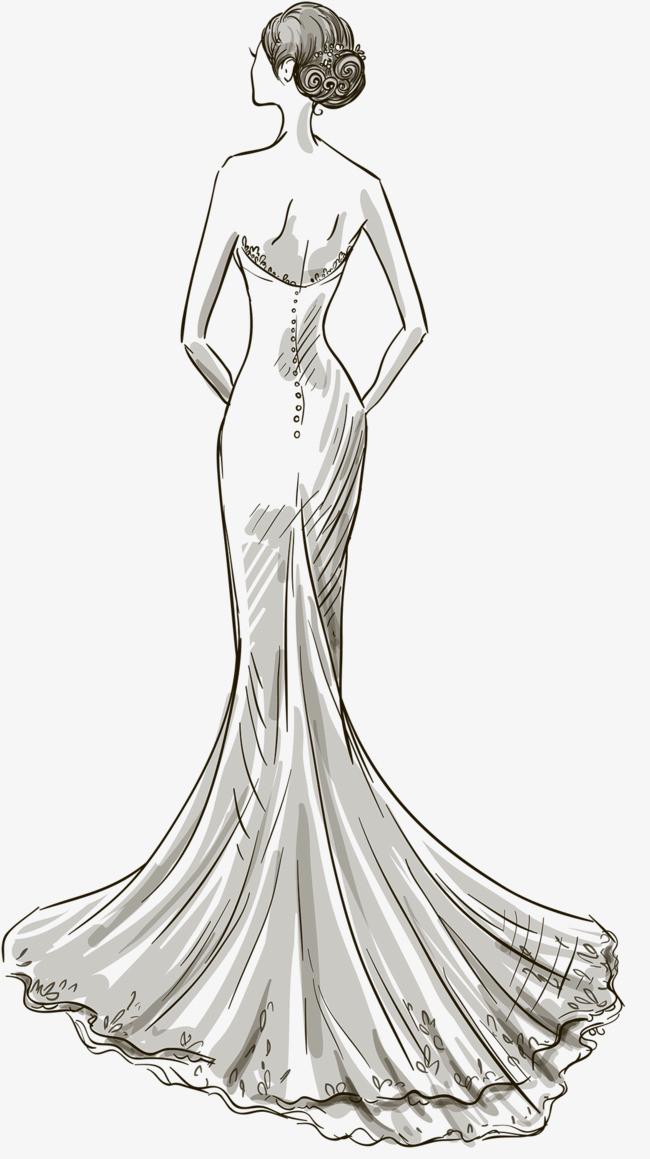 手绘黑白线条婚纱